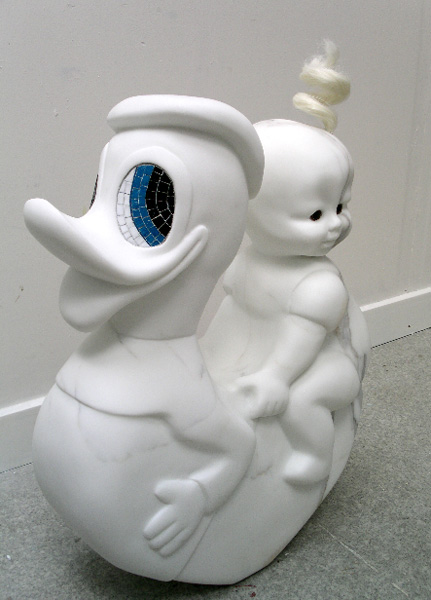 www.lenaflodman.com - Donald and Me, white marble, mosaic and hair 2004