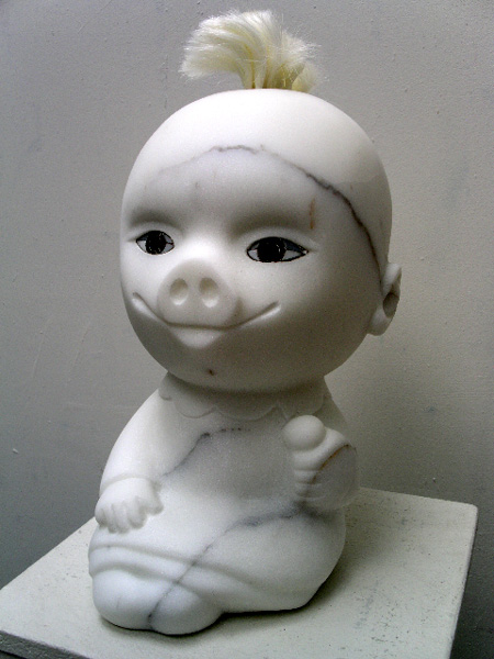 www.lenaflodman.com - Assemblage of a Doll and a Pig, white marble, mosaic and hair 2004