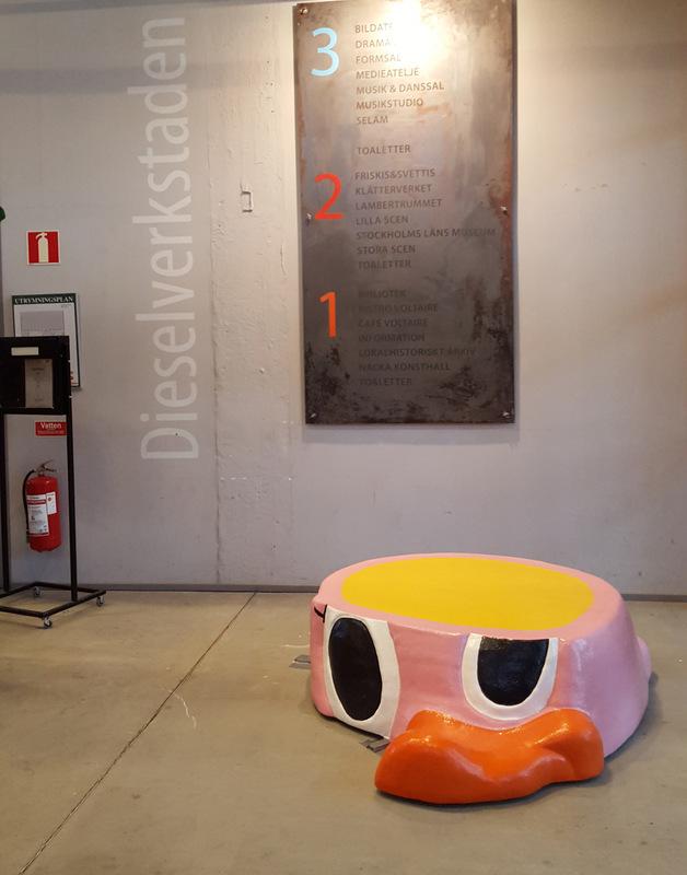 www.lenaflodman.com - Sliced Duck, fiberglass. Placed in the entrance of Dieselverkstaden, Sickla 2016