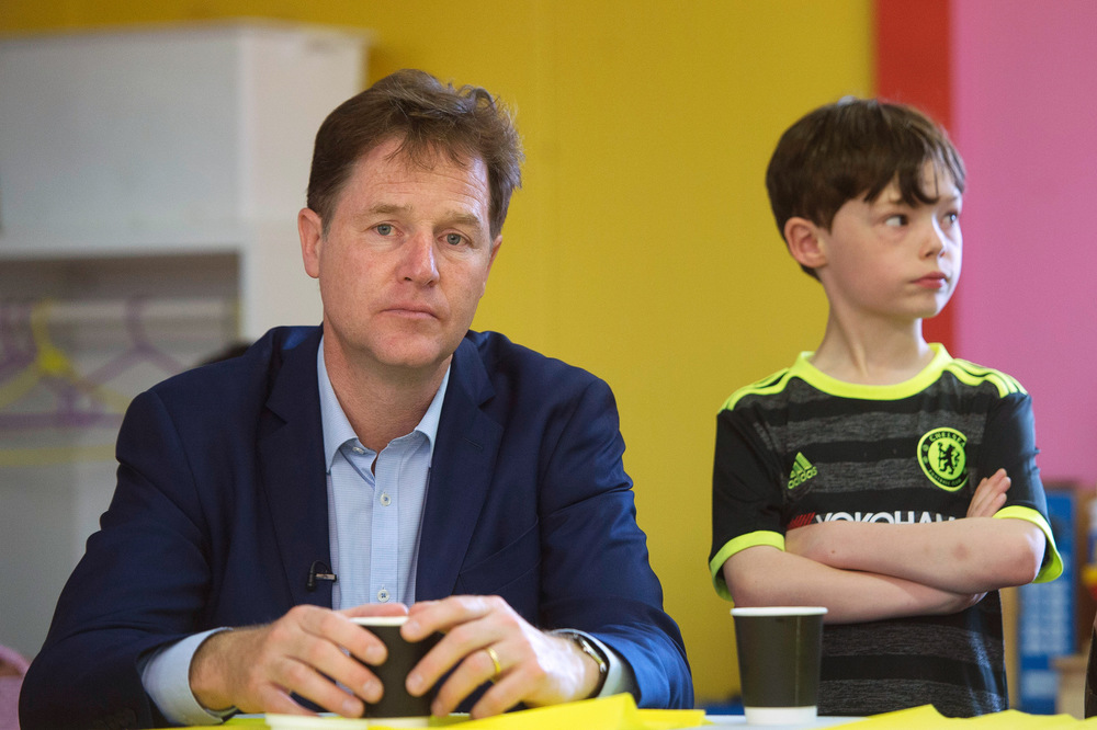 Victoria Jones Press Association Photographer - May 2017  Former Deputy Prime Minister Nick Clegg at the Oasis Playspace, Lambeth, following the launch in central London of a Liberal Democrats campaign poster attacking the Conservatives school meals policy.