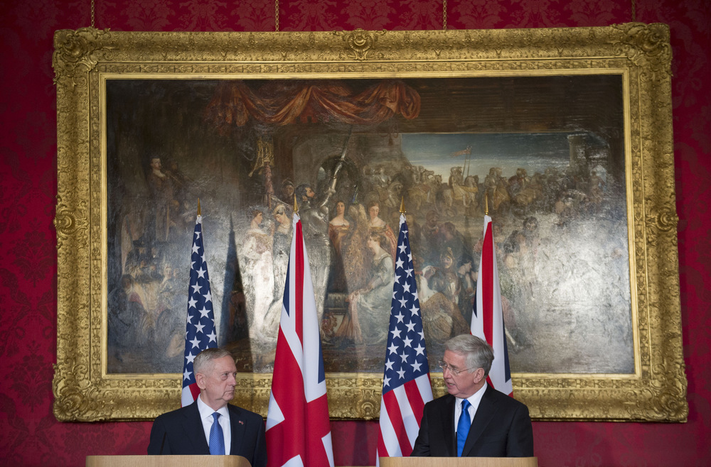 Victoria Jones Press Association Photographer - March 2017  Defence Secretary Sir Michael Fallon and US Defence Secretary James Mattis (left) during a joint press conference at Lancaster House in London.