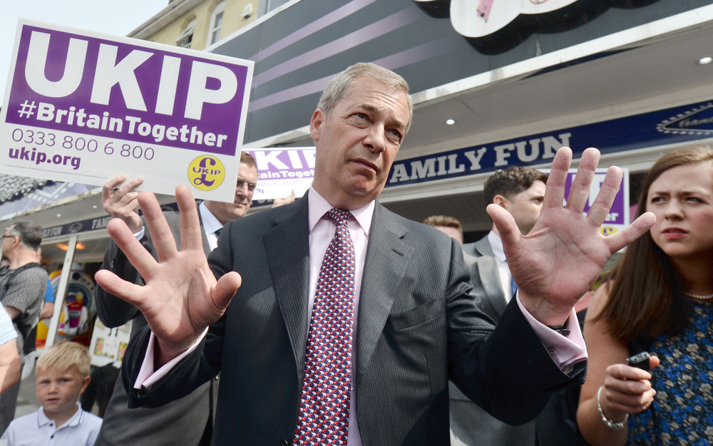 Victoria Jones Press Association Photographer - June 2017  Former UKIPleader Nigel Farage on the general election campaign trail in Clacton.
