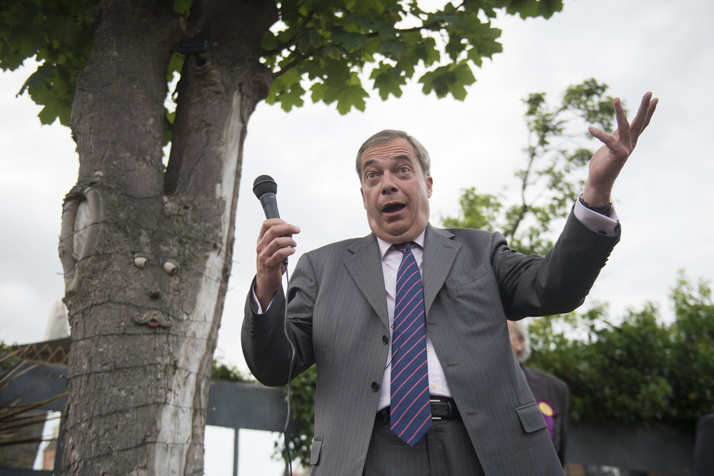 Victoria Jones Press Association Photographer - June 2017  Former Ukip leader Nigel Farage makes a speech in Ramsgate while on the general election campaign trail in South Thanet.