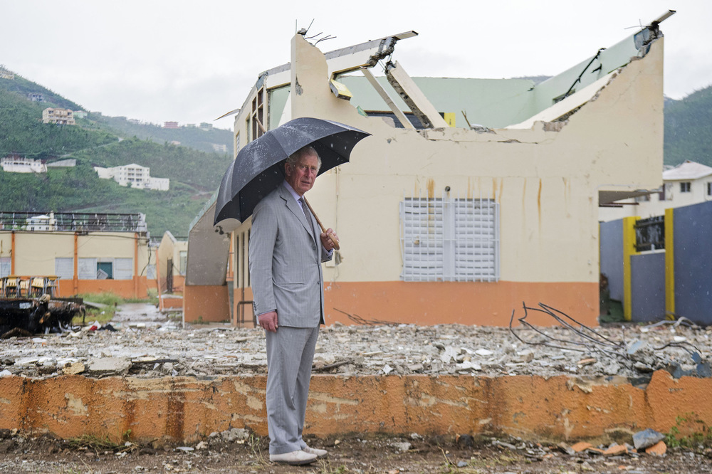Victoria Jones Press Association Photographer - November 2017  The Prince of Wales visits the remains of Elmore Stoutts High School in Road Town during a visit to the island of Tortola, in the British Virgin Islands as he continues his tour of hurricane-ravaged Caribbean islands.