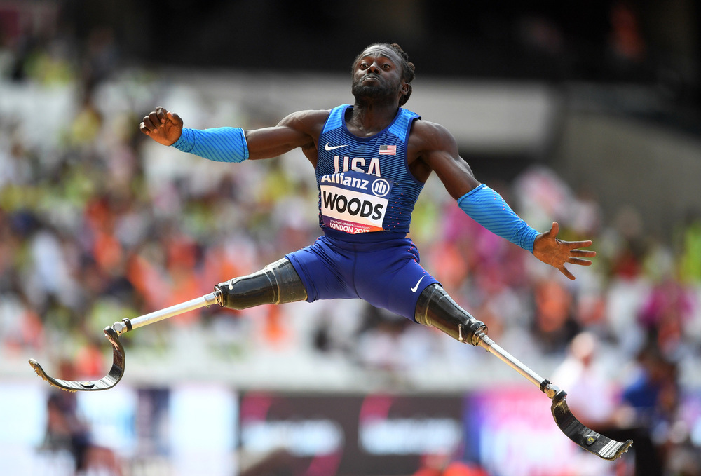 Victoria Jones Press Association Photographer - July 2017  USAs Regas Woods in the Mens Long Jump T42 Final during day five of the 2017 World Para Athletics Championships at London Stadium.