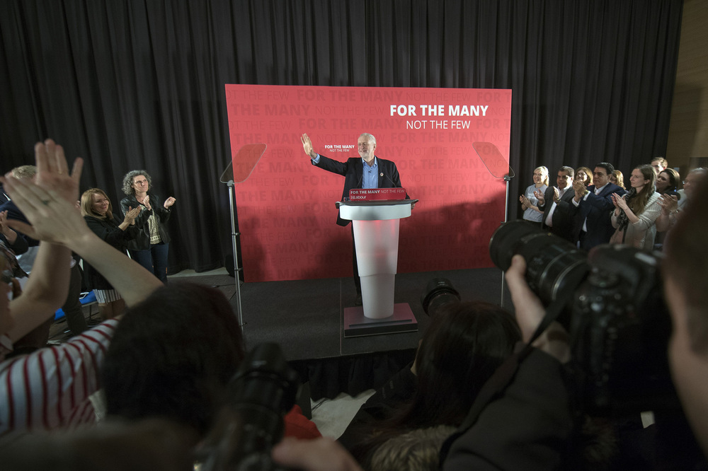 Victoria Jones Press Association Photographer - April 2017  Labour leader Jeremy Corbyn gives a speech in east London at the start of the election campaign.