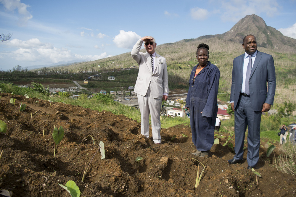 Victoria Jones Press Association Photographer - November 2017  The Prince of Wales visits Bellevue Chopin Farm on Dominica during his tour of hurricane-ravaged Caribbean islands.