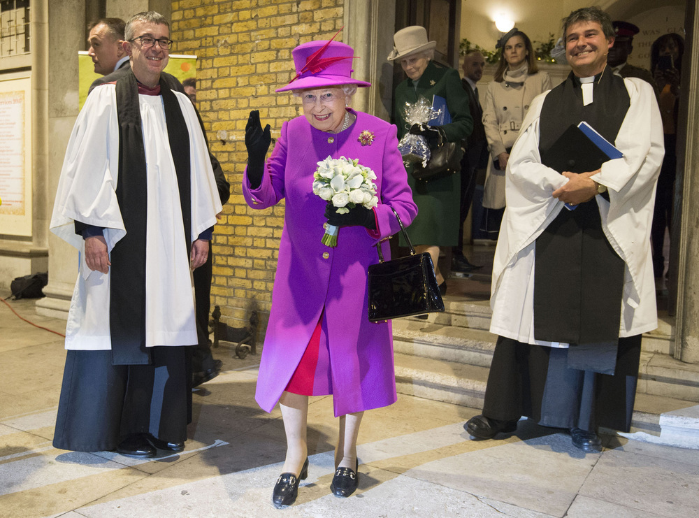 Victoria Jones Press Association Photographer - December 2017  Queen Elizabeth II leaves after the Scripture Unions 150th anniversary service of celebration at St Marys Church in London.