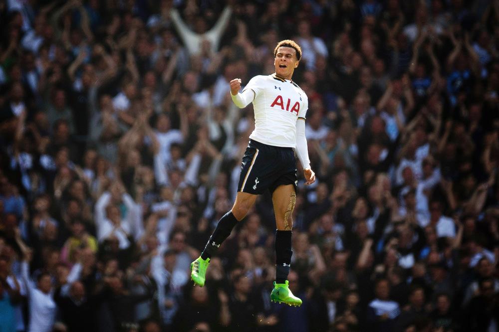 Victoria Jones Press Association Photographer - April 2017  Tottenham Hotspurs Dele Alli celebrates scoring against Watfordat White Hart Lane, London.
