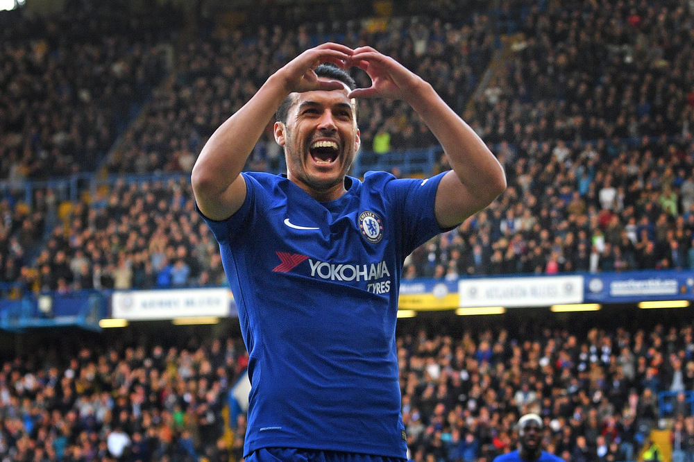 Victoria Jones Press Association Photographer - October 2017  Chelseas Pedro celebrates scoring against Watford at Stamford Bridge, London.