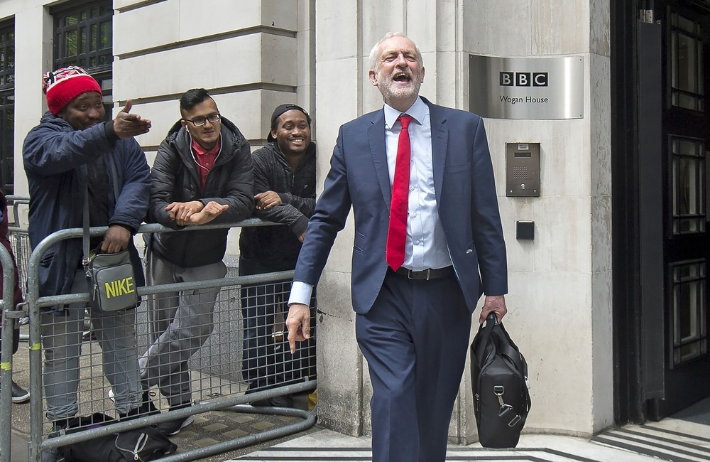 Victoria Jones Press Association Photographer - May 2017  Labour leader Jeremy Corbyn leaving BBC Broadcasting House in London, after an appearance on Radio 2.