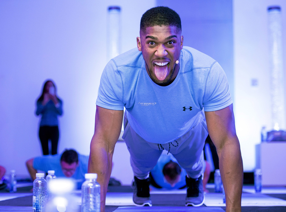 Victoria Jones Press Association Photographer - August 2017  Anthony Joshua during the media day for the launch event of FitWater by Lucozade Sport at the ME Hotel, London.