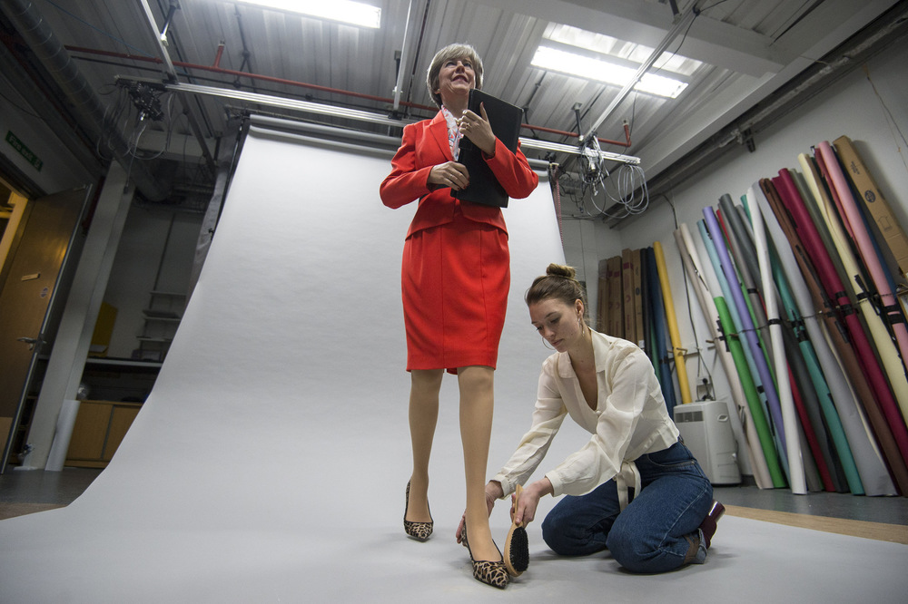 Victoria Jones Press Association Photographer - November 2017  The finishing touches are made to the new wax figure of Prime Minister Theresa Mayat the Merlin Magic Making studio in west London.