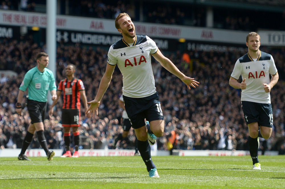 Victoria Jones Press Association Photographer - April 2017  Tottenham Hotspurs Harry Kane celebrates scoring against AFC Bournemouthat White Hart Lane, London.