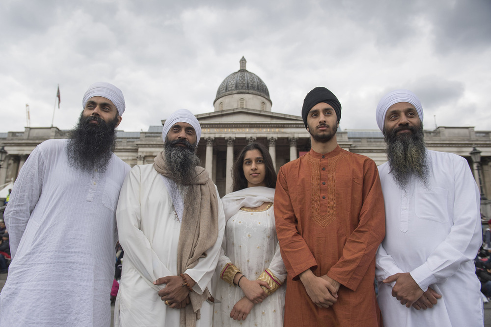 Victoria Jones Press Association Photographer - April 2017  Members of the Gurmat Sangeet Academy in Birmingham attend the Vaisakhi Festival 2017 in Trafalgar Square, central London, to mark the Sikh New Year.