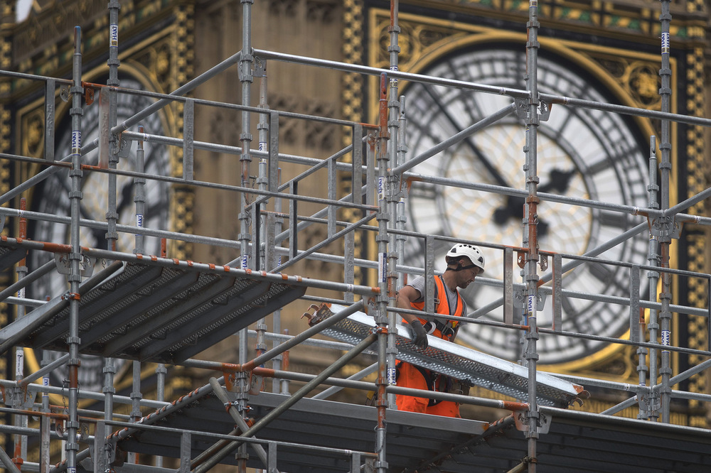 Victoria Jones Press Association Photographer - June 2017  Scaffolding is erected adajecentto the Elizabeth Tower at the Palace of Westminster, London, asconservation work on the landmark begins.