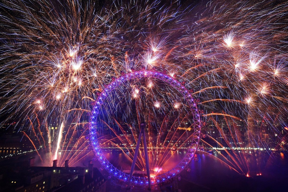 Victoria Jones Press Association Photographer - December 2017 **  Fireworks light up the sky over the London Eye in central London during the New Year celebrations.  **Although technicallyone minute into January 2018!