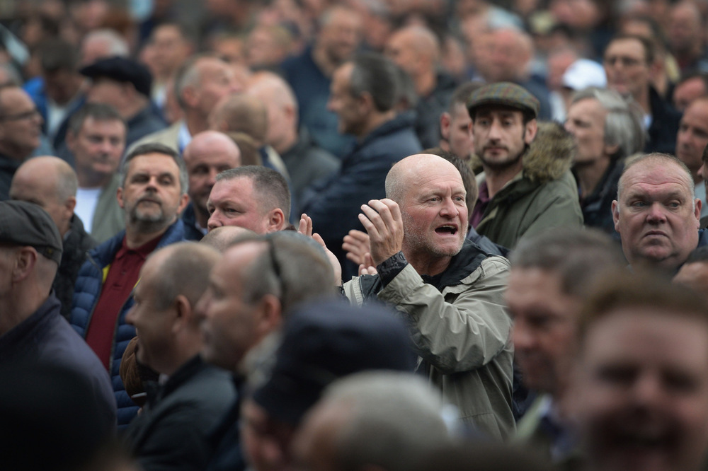 Victoria Jones Press Association Photographer - October 2017  Members of the anti-extremist group Football Lads Alliance (FLA) and football fanbases from across the country gatheronPark Lane in London.