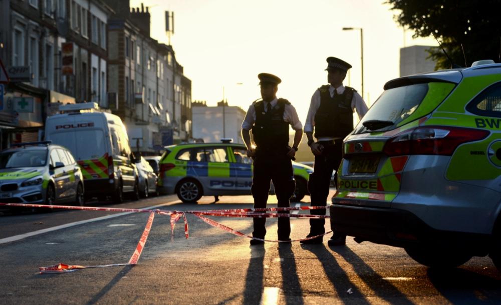 Victoria Jones Press Association Photographer - June 2017  Police officers manning a cordon in Finsbury Park, north London, after a van struck pedestrians near to theFinsbury Park Mosque.
