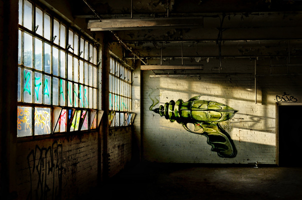 Steven Parker Photography - York based photographer - Ray Gun wall art by Rocket01 abandoned tool makers Sheffield