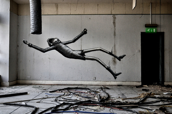 Steven Parker Photography - York based photographer - Falling wall art by Phlegm abandoned hotel Sheffield
