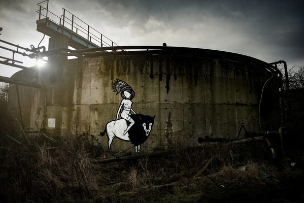Steven Parker Photography - York based photographer - Buffalo Gal wall art by Coloquix abandoned industrial site Derbtshire