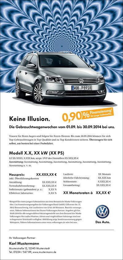 Laura Bender Design Portfolio - Volkswagen Handelskampagne Gebrauchtwagenwochen September 2014 Route Illusion