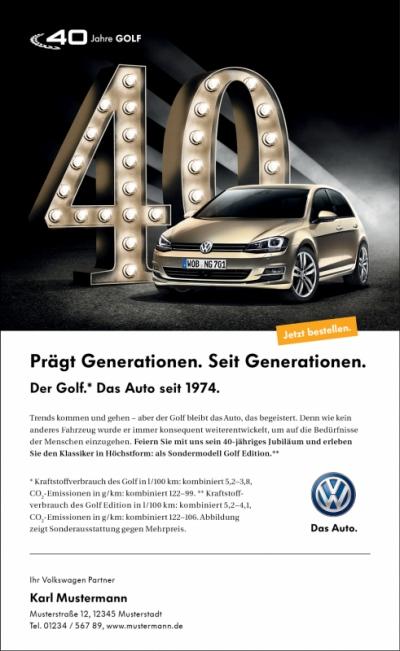 """Laura Bender Design Portfolio - Volkswagen """"40 Jahre Golf"""" Handelskampagne"""