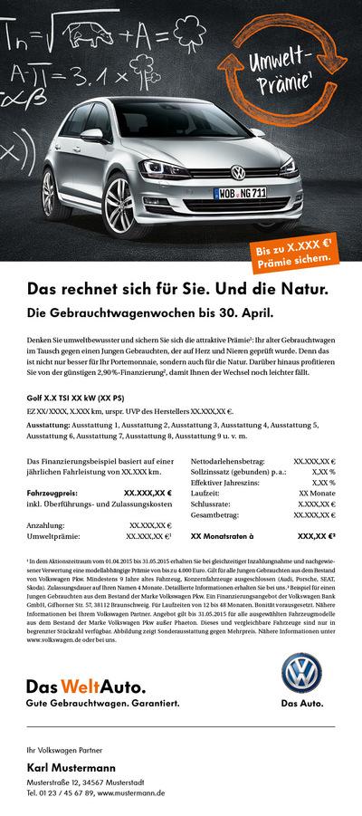 Laura Bender Design Portfolio - Volkswagen Handelskampagne Gebrauchtwagenwochen April 2015
