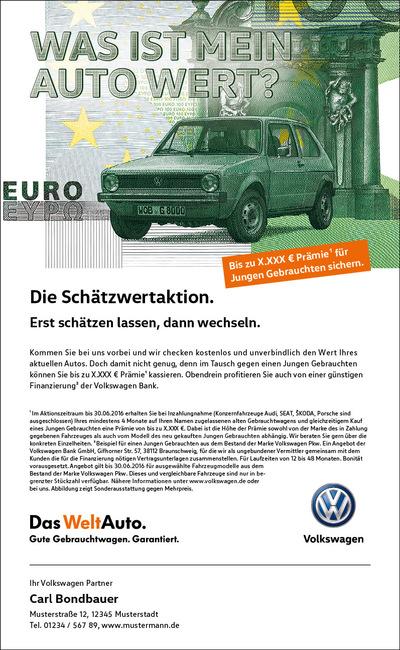 Laura Bender Design Portfolio - Volkswagen Schätzwertaktion 2016
