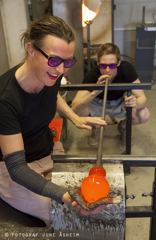 Photographer June Åsheim - From Glasshytta Blåst, and the two glassblowers Silja Skoglund and Julian Finne.