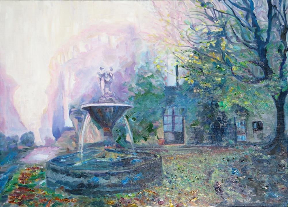 Timothy Adam Matthews - Place De La Fontaine - Saignon (Autumn) - 50x70cm