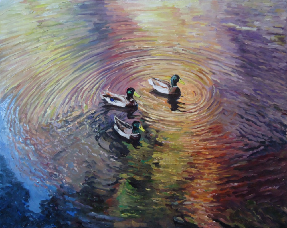 Timothy Adam Matthews - Water Study With Ducks (Rainbow) - 16x20
