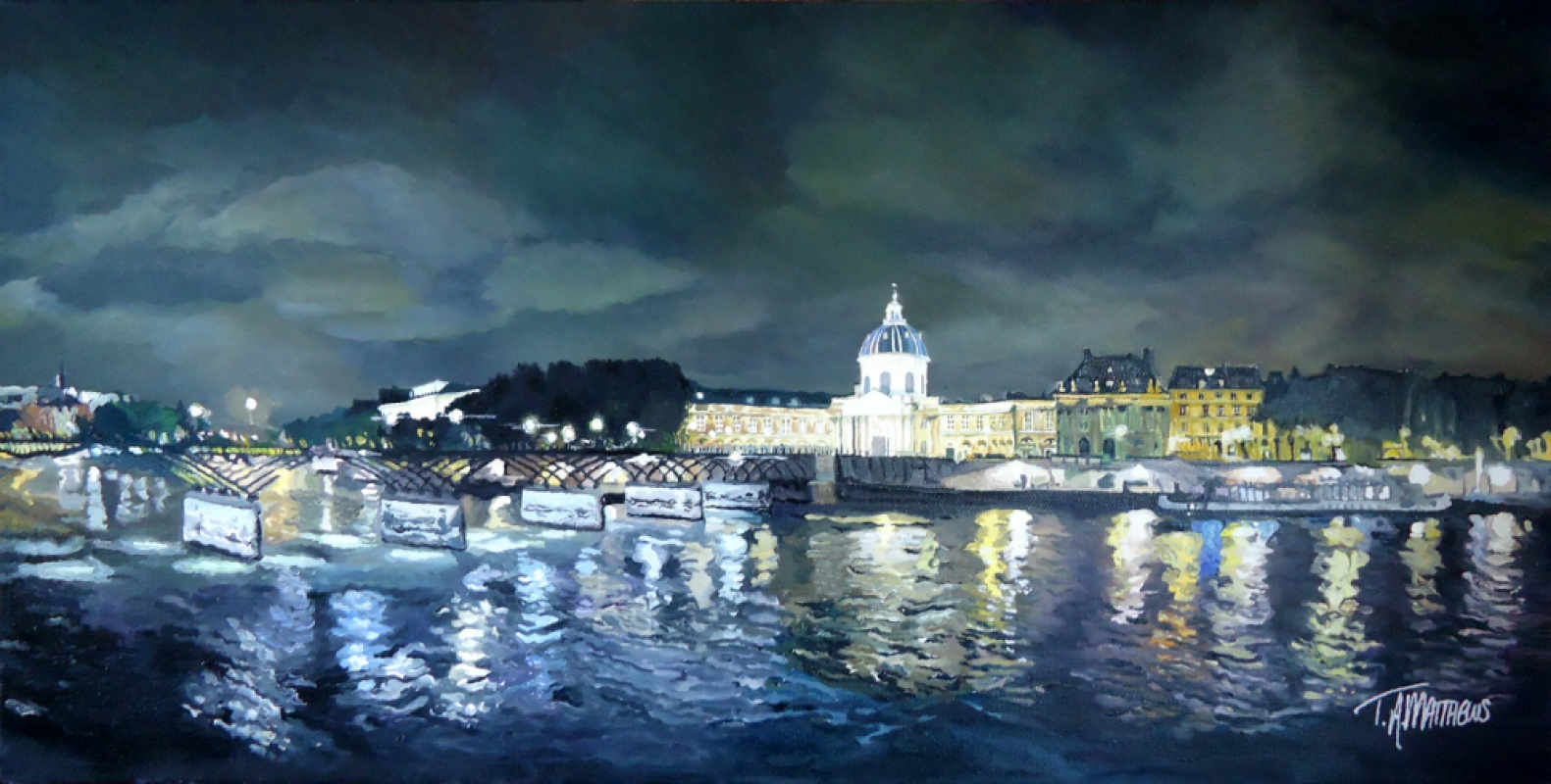 Timothy Adam Matthews - soirée parisienne - Le Pont Des Arts - 30x60cm