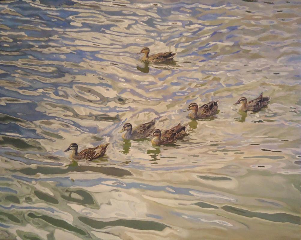 Timothy Adam Matthews - Water Study With Ducks - Vouvant (Blue) - 16x20