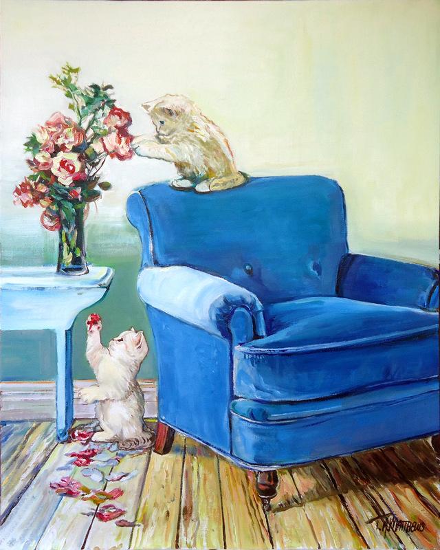 Timothy Adam Matthews - Playful Kittens & A Vase of Flowers - 40x50cm