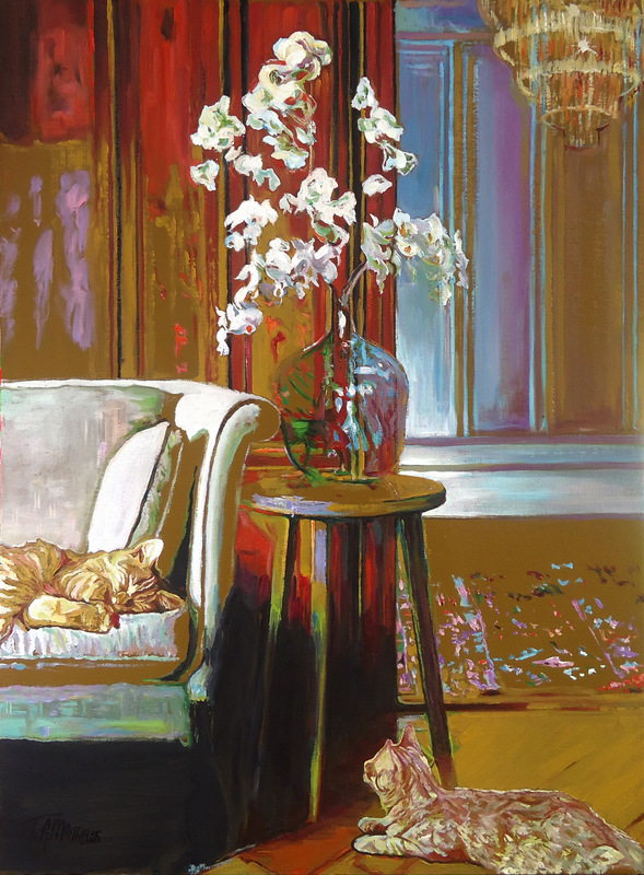 Timothy Adam Matthews - Lounge cats with orchids - 40x50cm