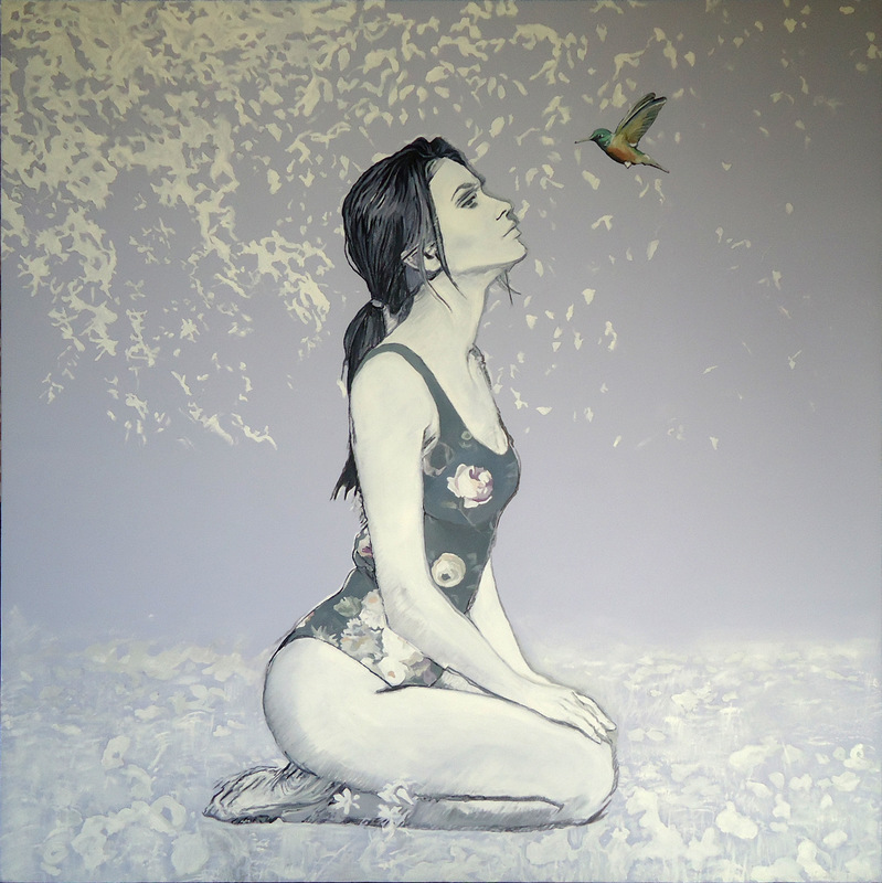 Timothy Adam Matthews - Hummingbird contemplation - 100x100cm - canvas/unframed