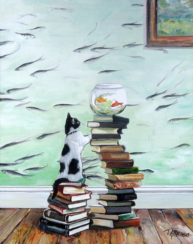 Timothy Adam Matthews - Curious Kitten with Fishbowl - 40x50cm