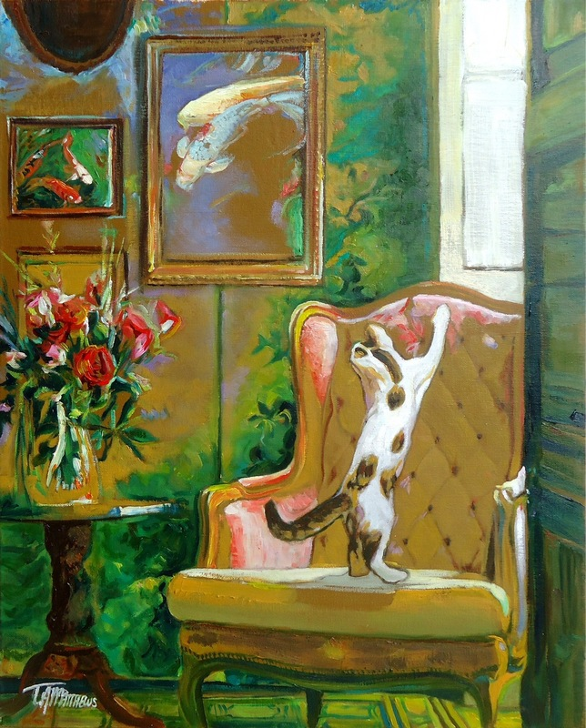 Timothy Adam Matthews - Cat in a Study with Flowers & Fish - 40x50cm