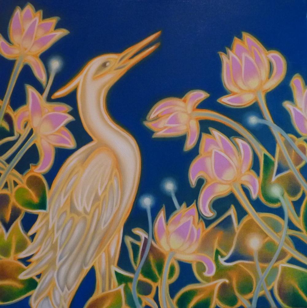 ida romiti - airone e fiori di loto. olio su tela. 50x50