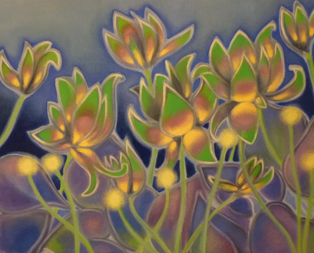 ida romiti - fiori al negativo. olio su tela. 40x50