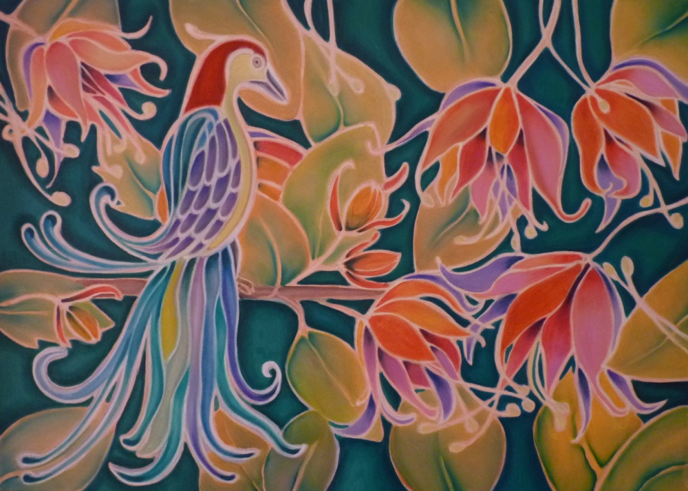 ida romiti - uccellino del paradiso. olio su tela. 50x70