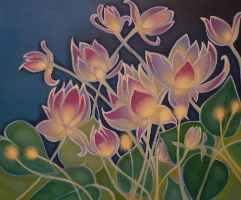 ida romiti - fiori di loto. olio su tela.. 50x60