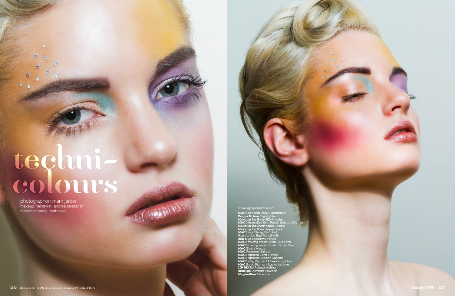 Make Up by ASM - FreshlyWORN Magazine - Spring edition 2013 © Mark Jarder Photography