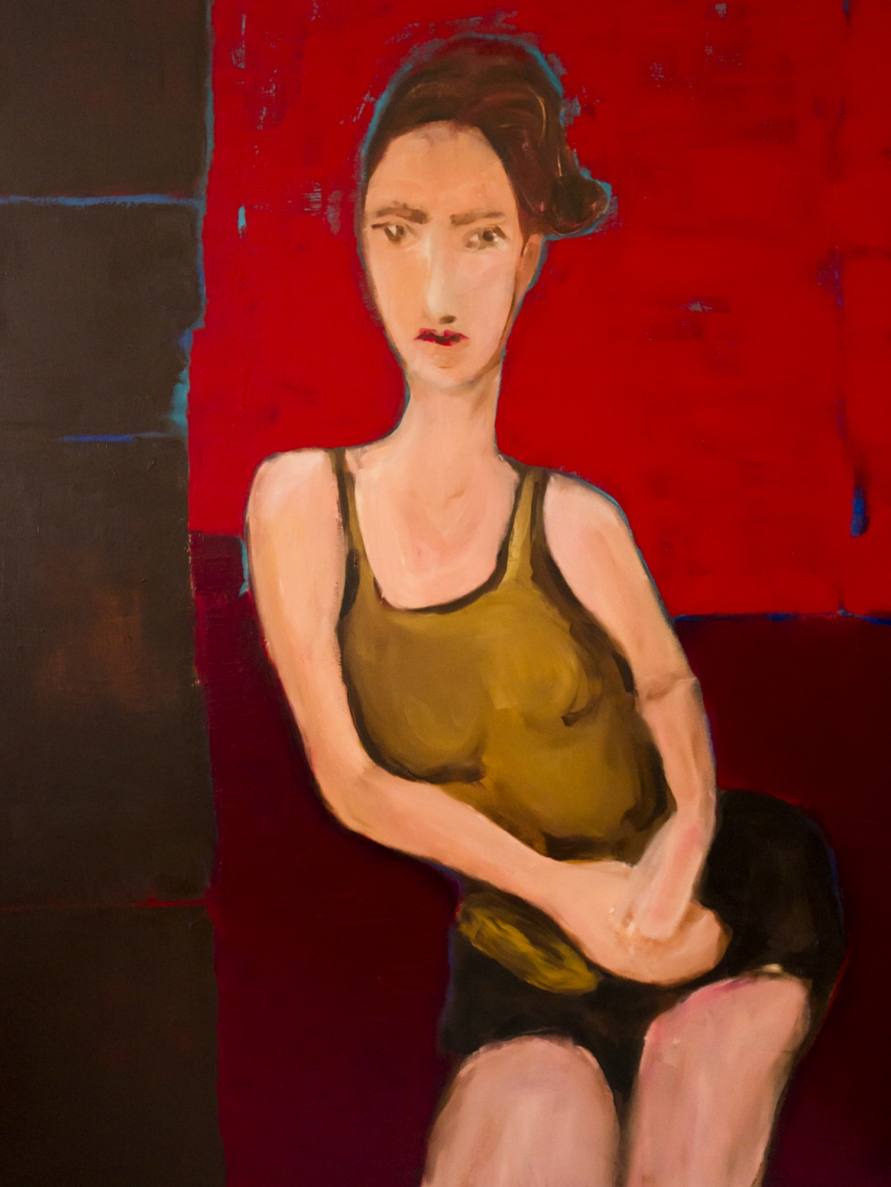augusty - Paula on red, acrylics 116/89 cm