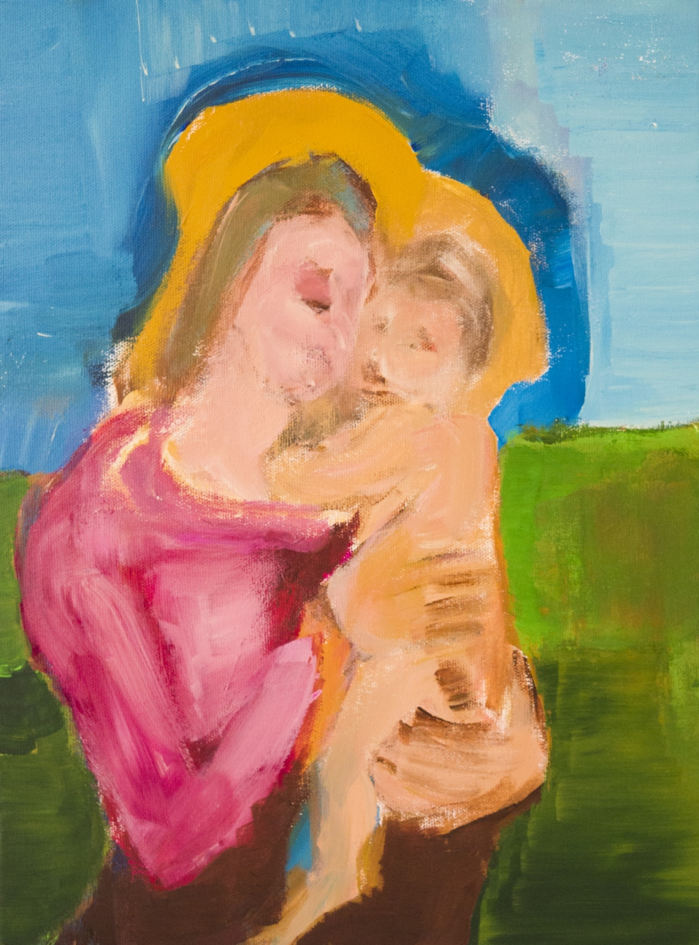 augusty - Madonna with child, acrylics 40/30 cm