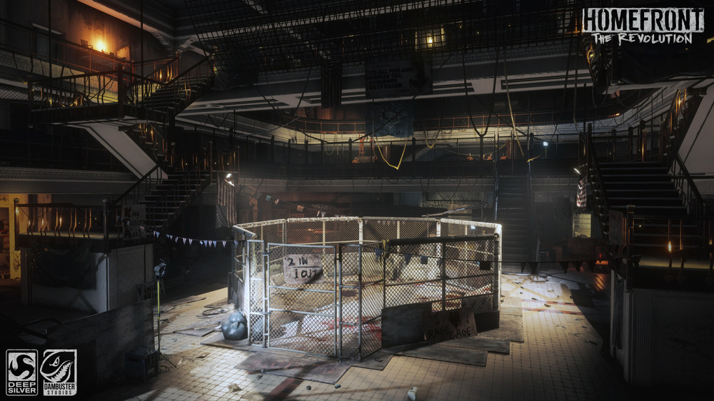 Jamie Harris - I was responsible for creating the cage from existing assets and dressing the area. Initial dressing and lighting pass by Clive Stevenson.