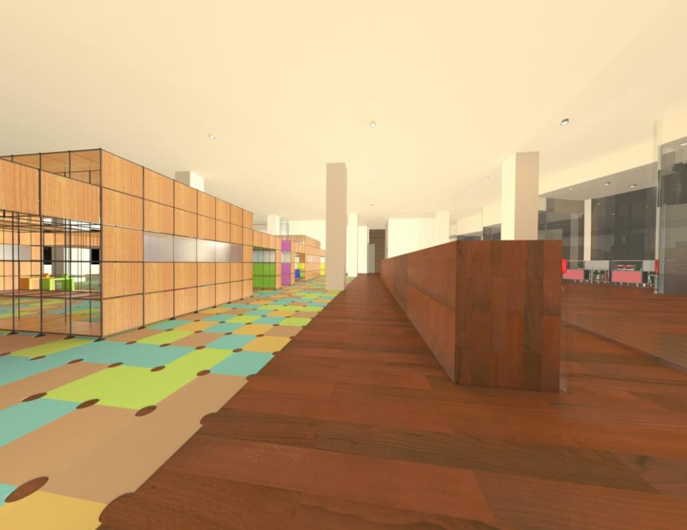 Kiratsuda Chirathivat Interior Design - Hallway to Kindergarten Area