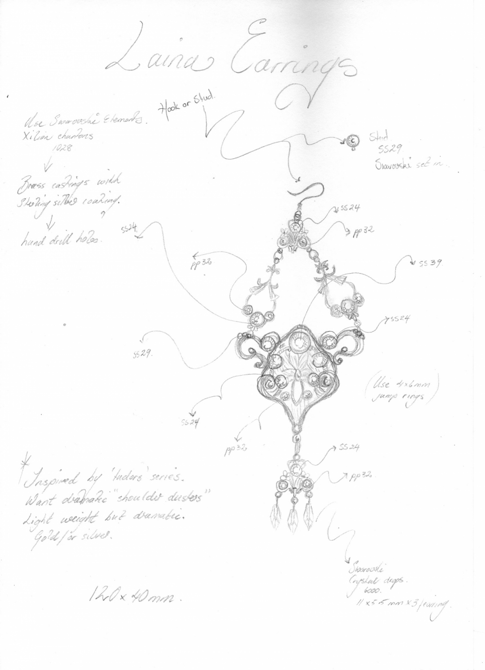 Curvaceous Design Portfolio - Then a more detailed sketch is drawn, listing castings and crystals, sizes etc.